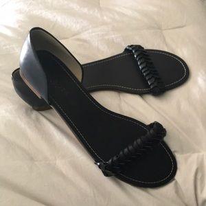 Talbots navy open toe flats SZ 9